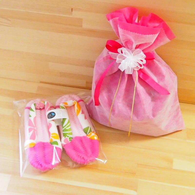 不織布 リボン付巾着袋(大)・ピンク
