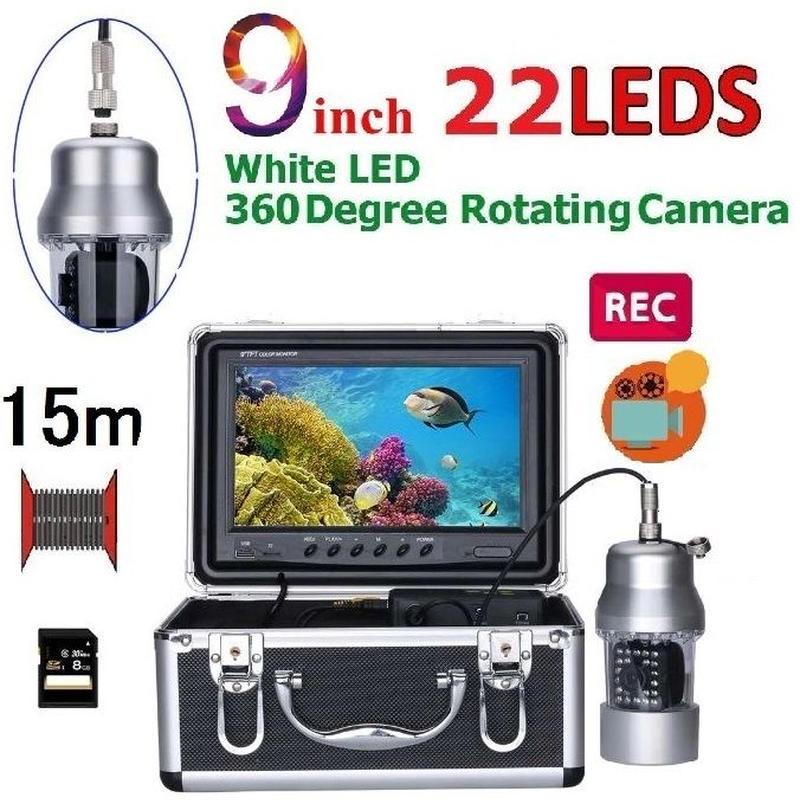 CCD 水中カメラ 釣りカメラ 360度回転 白色LED22灯 9インチモニター 15mケーブル GAMWATER 録画 SDカード付
