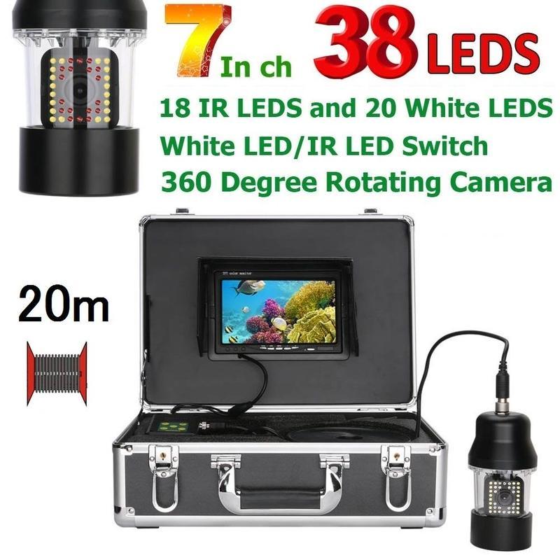 CCD 水中カメラ 釣りカメラ 360度回転 赤外線・白色LED38灯 7インチモニター 20mケーブル GAMWATER