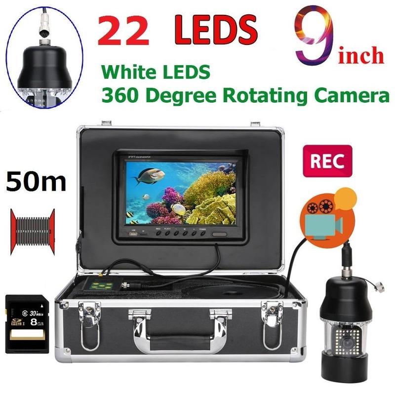 CCD 水中カメラ 釣りカメラ 360度回転 白色LED22灯 9インチモニター 50mケーブル GAMWATER 録画 SDカード付