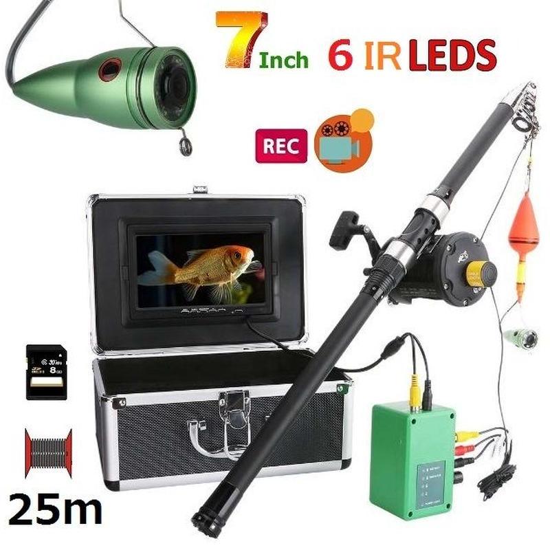 リール付き 釣竿カメラ 赤外線LED6灯 7インチモニター アルミ 水中カメラ 釣りカメラ 25mケーブル GAMWATER 録画 SDカード付