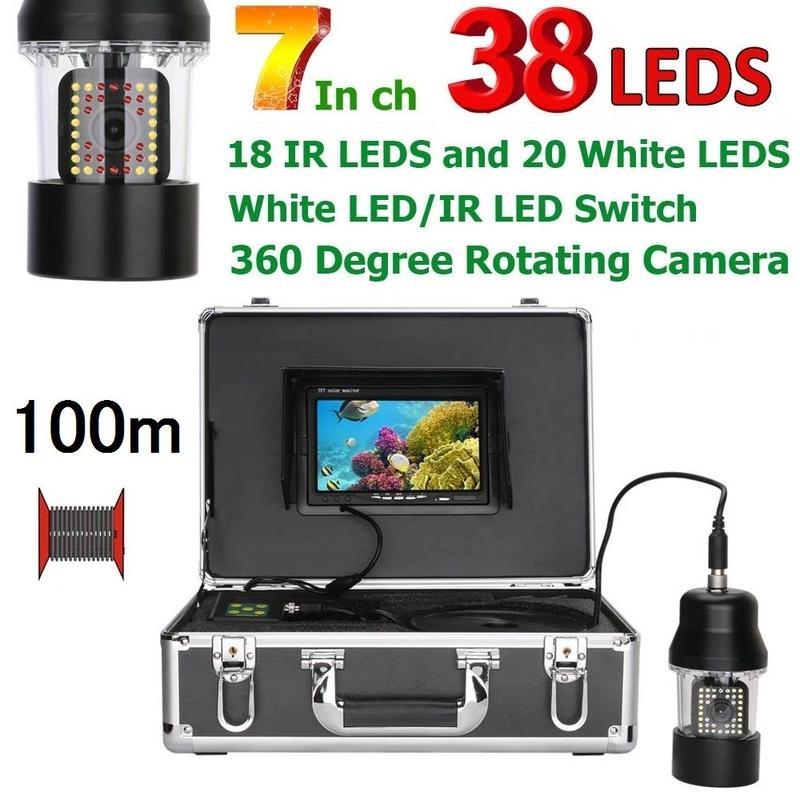 CCD 水中カメラ 釣りカメラ 360度回転 赤外線・白色LED38灯 7インチモニター 100mケーブル GAMWATER