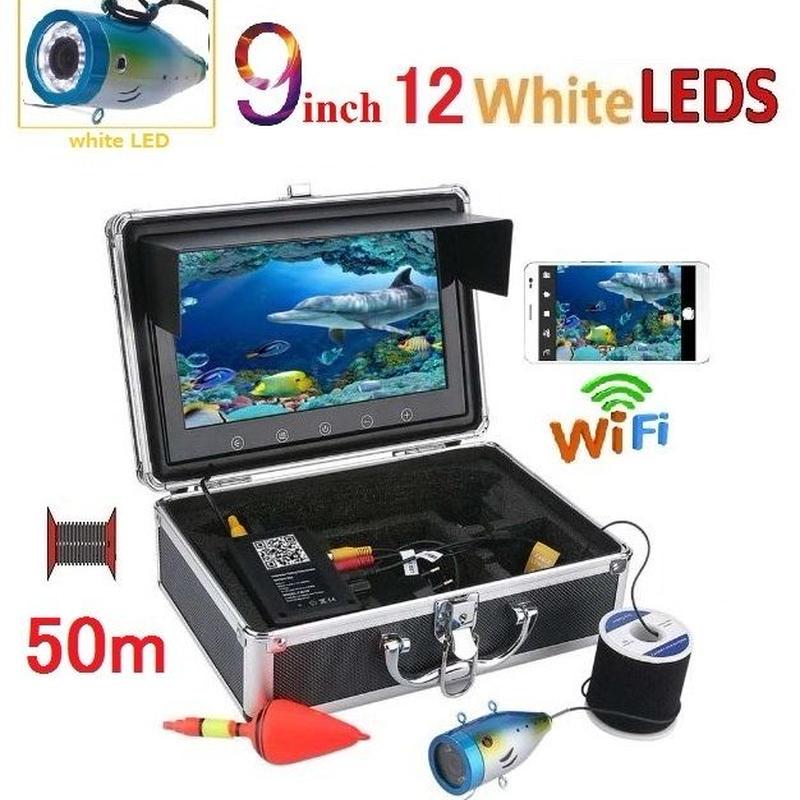 wifi アルミ 水中カメラ 白色LED12灯 9インチモニター  釣りカメラ 50mケーブル GAMWATER