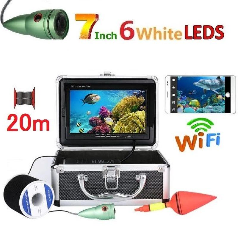 wifi アルミ 水中カメラ 白色LED6灯 7インチモニター  釣りカメラ 20mケーブル GAMWATER
