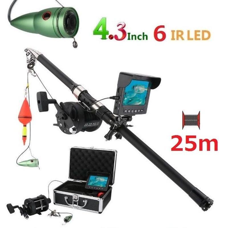 リール付き 釣竿カメラ 赤外線LED6灯 4.3インチモニター アルミ 水中カメラ 釣りカメラ 25mケーブル GAMWATER