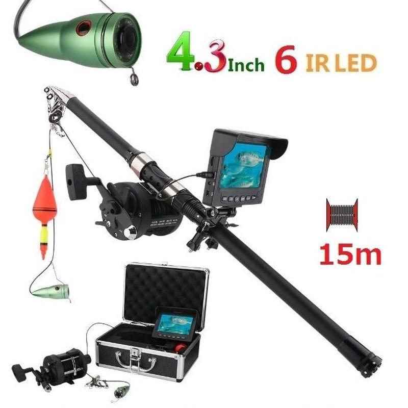 リール付き 釣竿カメラ 赤外線LED6灯 4.3インチモニター アルミ 水中カメラ 釣りカメラ 15mケーブル GAMWATER