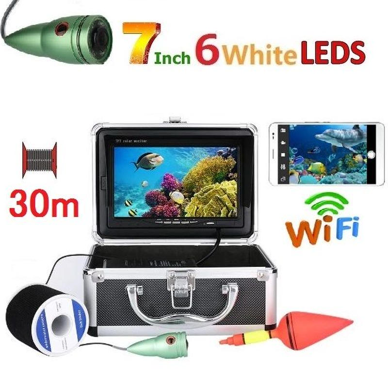 wifi アルミ 水中カメラ 白色LED6灯 7インチモニター  釣りカメラ 30mケーブル GAMWATER