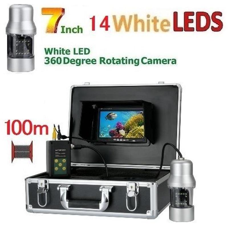 CCD 水中カメラ 釣りカメラ 360度回転 白色LED14灯 7インチモニター 100mケーブル GAMWATER