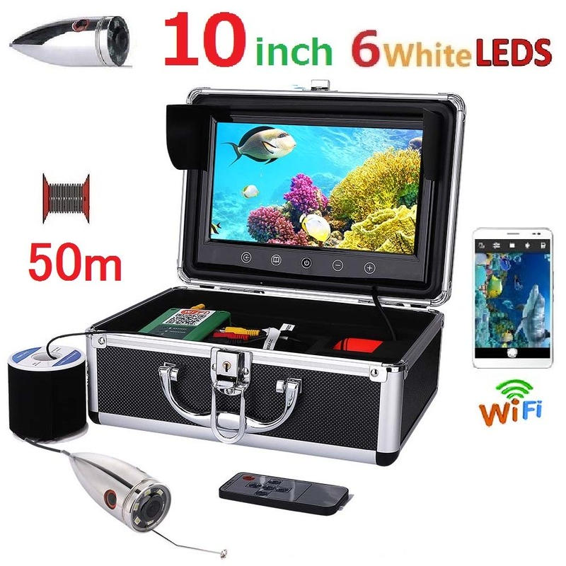 wifi ステンレス 水中カメラ 白色LED6灯 10インチモニター  釣りカメラ 50mケーブル GAMWATER