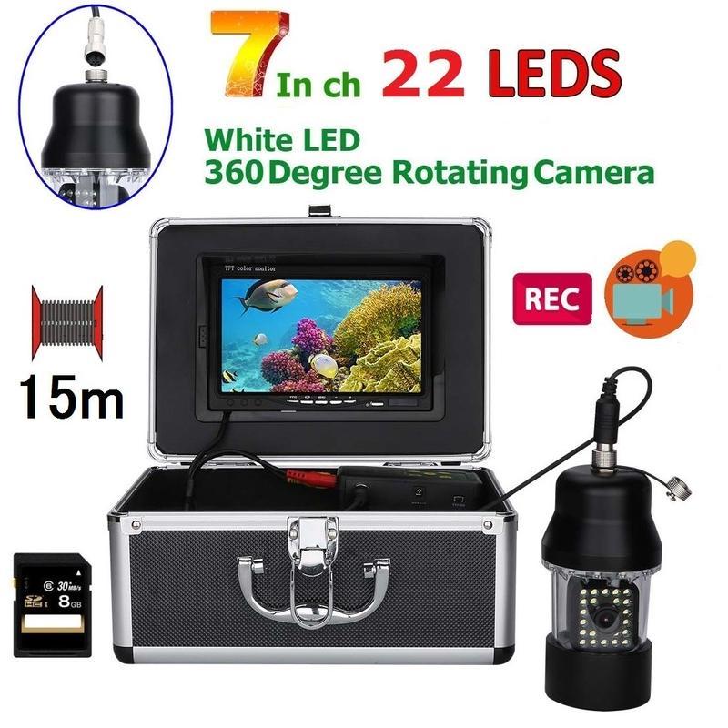 CCD 水中カメラ 釣りカメラ 360度回転 白色LED22灯 7インチモニター 15mケーブル GAMWATER 録画 SDカード付