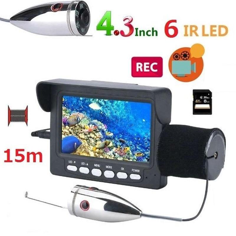釣竿カメラ 赤外線LED6灯 4.3インチモニター ステンレス 水中カメラ 釣りカメラ 15mケーブル GAMWATER 録画 SDカード