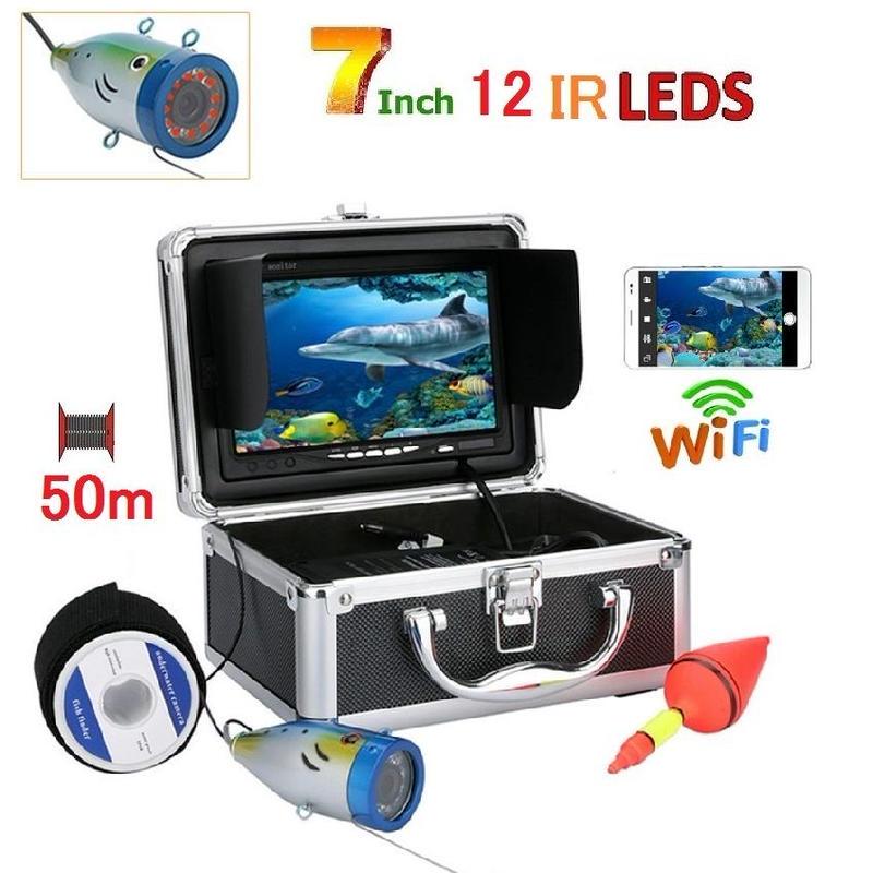wifi アルミ 水中カメラ 赤外線LED12灯 7インチモニター  釣りカメラ 50mケーブル GAMWATER