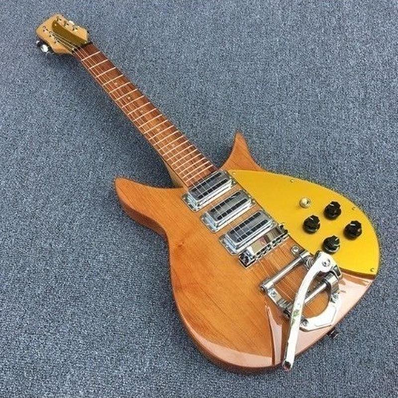 [ケースなし] リッケンバッカー スタイル 34インチ エレキギター 木目ブラウン/イエロー メープルネック rickenbackerタイプ