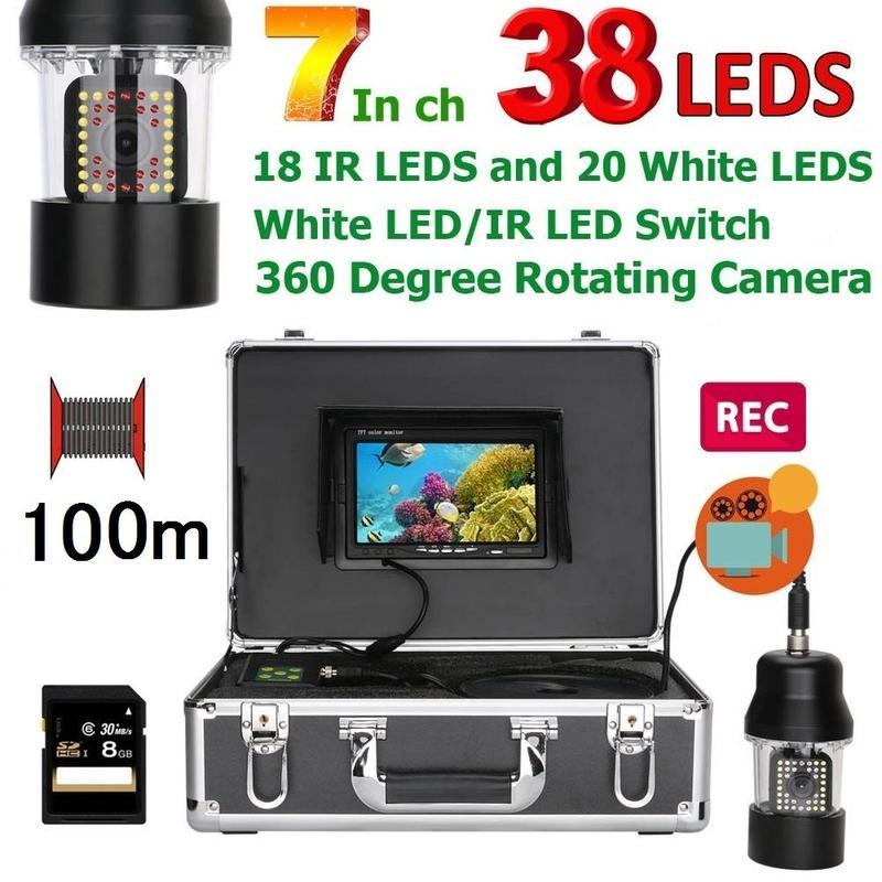 CCD 水中カメラ 釣りカメラ 360度回転 赤外線・白色LED38灯 7インチモニター 100mケーブル  録画 SDカード付