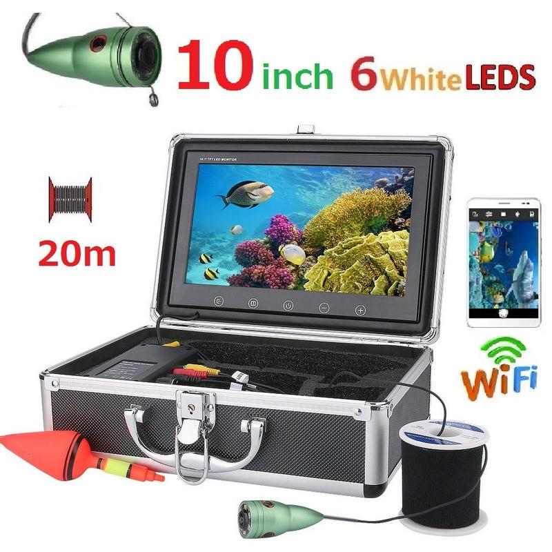wifi アルミ 水中カメラ 白色LED6灯 10インチモニター  釣りカメラ 20mケーブル GAMWATER