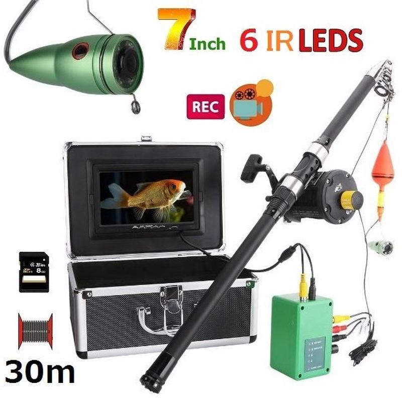 リール付き 釣竿カメラ 赤外線LED6灯 7インチモニター アルミ 水中カメラ 釣りカメラ 30mケーブル GAMWATER 録画 SDカード付