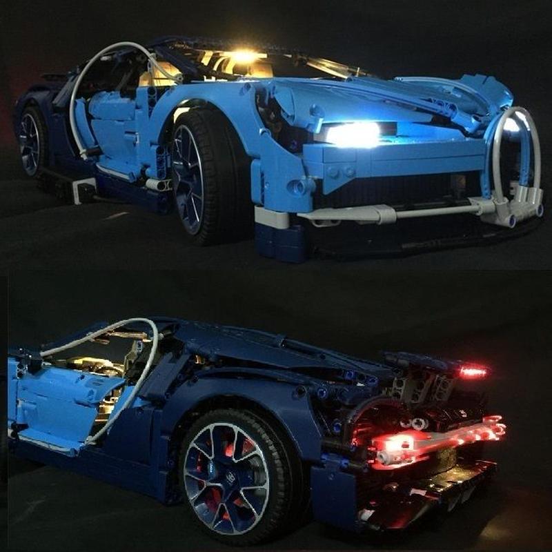レゴ テクニック 42083【ブガッティ・シロン ブルー本体 + LEDライトキット】フルセット スーパーカー レースカー日本未発売 互換品