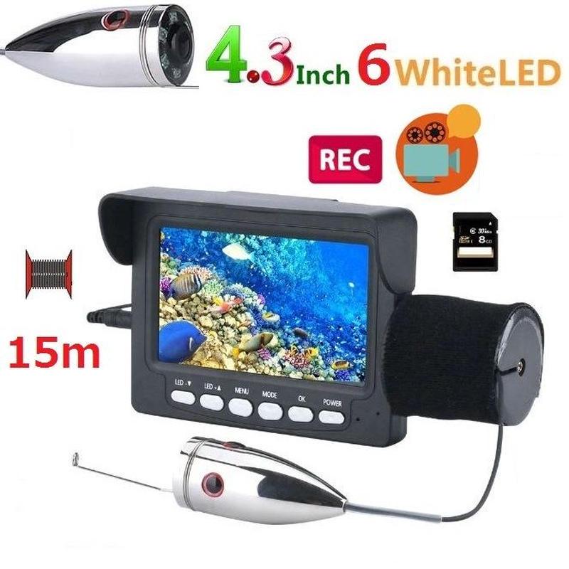 釣竿カメラ 白色LED6灯 4.3インチモニター ステンレス 水中カメラ 釣りカメラ 15mケーブル GAMWATER 録画 SDカード