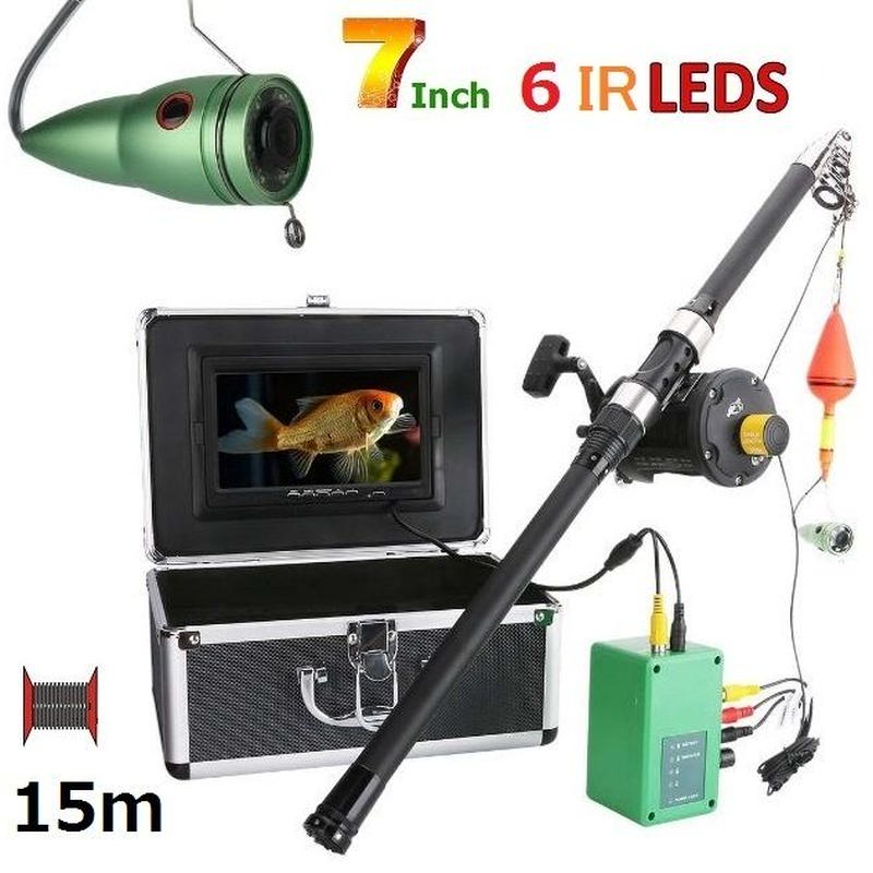 リール付き 釣竿カメラ 赤外線LED6灯 7インチモニター アルミ 水中カメラ 釣りカメラ 15mケーブル GAMWATER