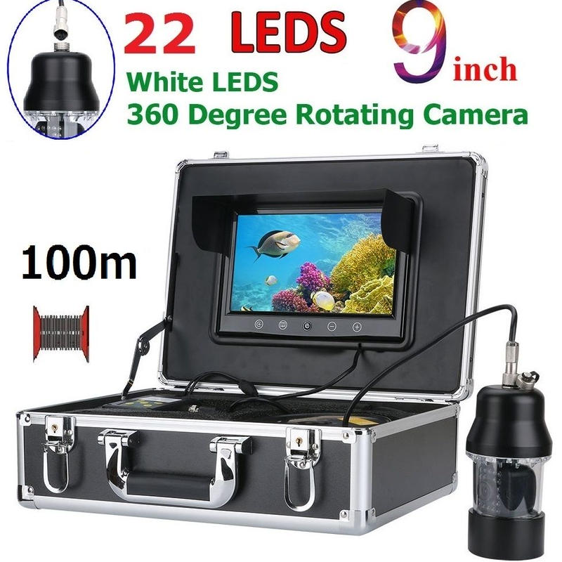 CCD 水中カメラ 釣りカメラ 360度回転 白色LED22灯 9インチモニター 100mケーブル GAMWATER
