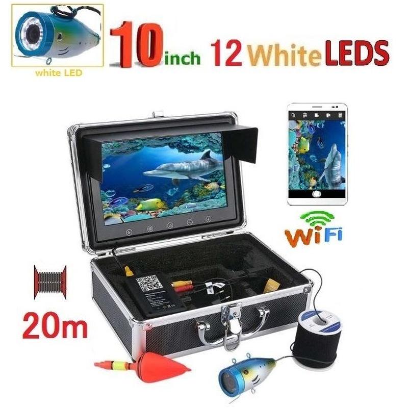 wifi アルミ 水中カメラ 白色LED12灯 10インチモニター  釣りカメラ 20mケーブル GAMWATER