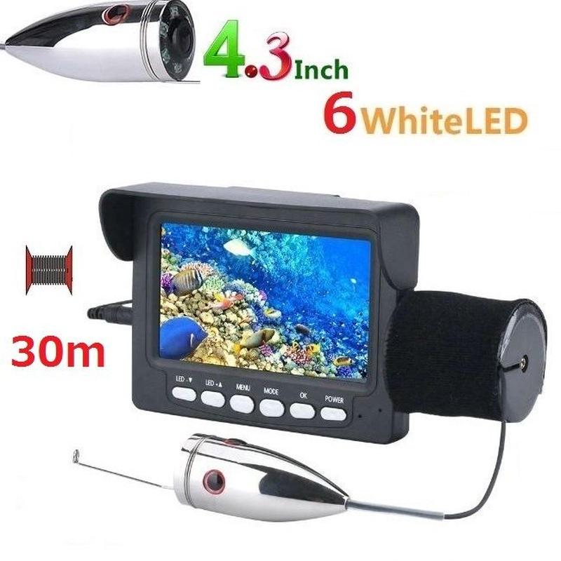 釣竿カメラ 白色LED6灯 4.3インチモニター ステンレス 水中カメラ 釣りカメラ 30mケーブル GAMWATER