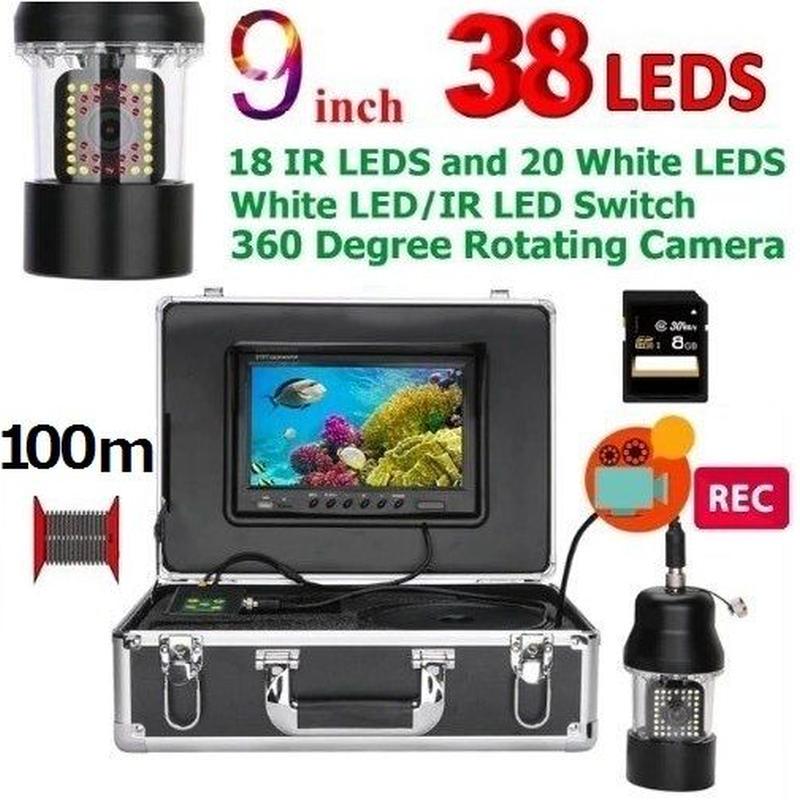 CCD 水中カメラ 釣りカメラ 360度回転 赤外線・白色LED38灯 9インチモニター 100mケーブル GAMWATER 録画 SDカード付