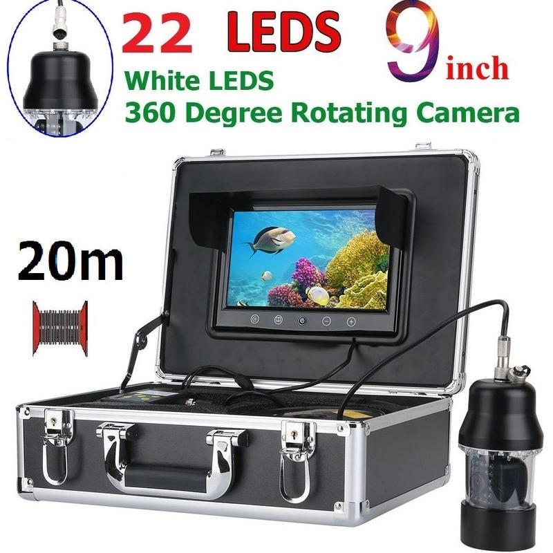 CCD 水中カメラ 釣りカメラ 360度回転 白色LED22灯 9インチモニター 20mケーブル GAMWATER