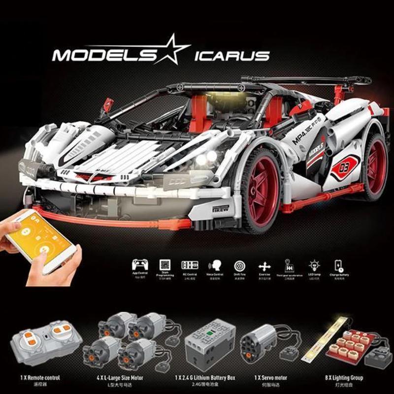 ★まるでラジコンレゴ★レゴテクニック 互換 マクラーレン MP4-12 モーター&ライトキットセット ホワイト