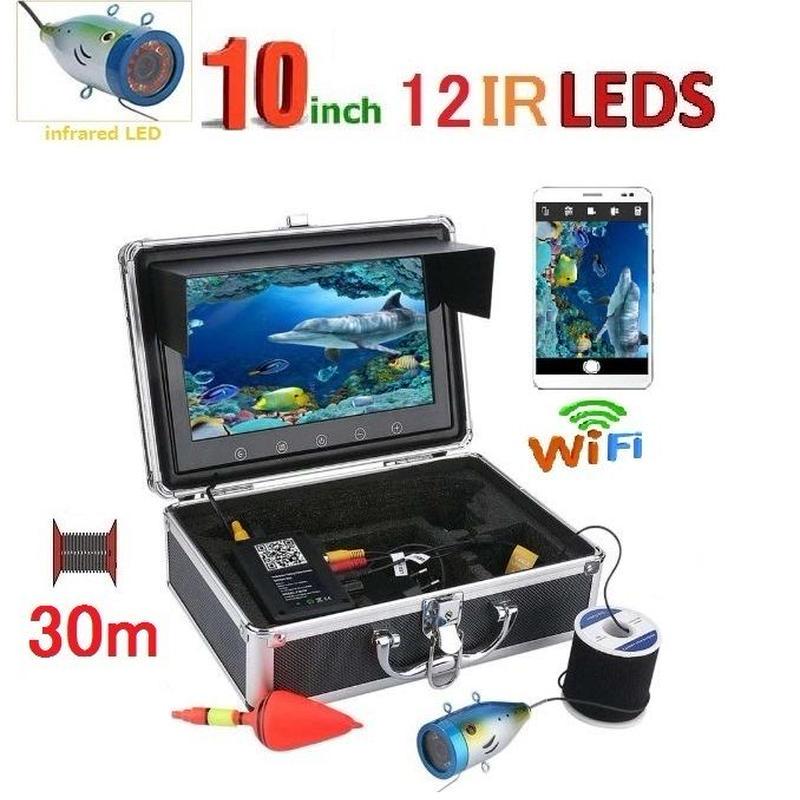 wifi アルミ 水中カメラ 赤外線LED12灯 10インチモニター  釣りカメラ 30mケーブル GAMWATER