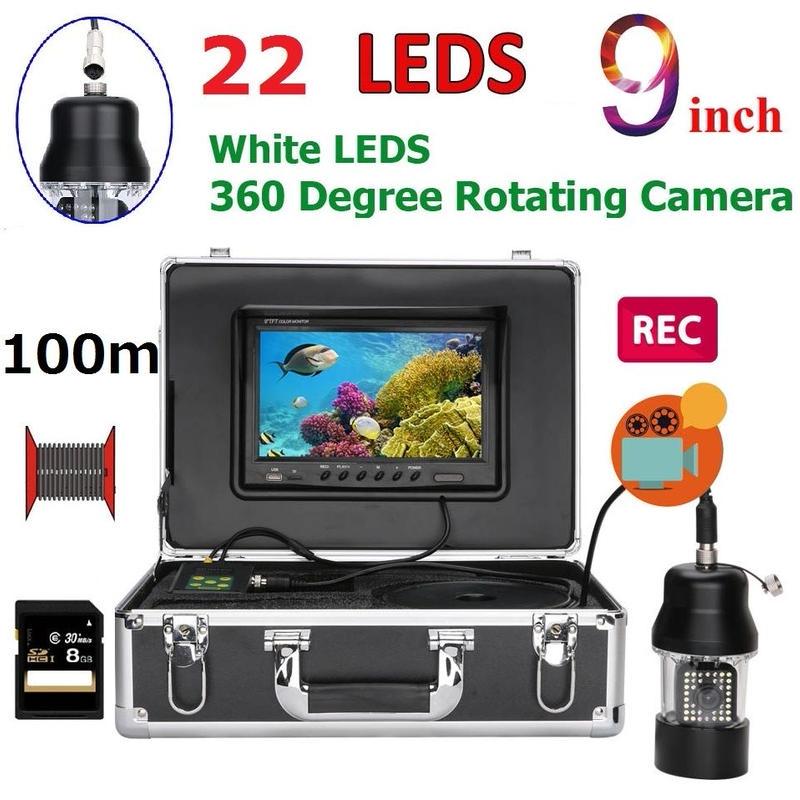CCD 水中カメラ 釣りカメラ 360度回転 白色LED22灯 9インチモニター 100mケーブル GAMWATER 録画 SDカード付