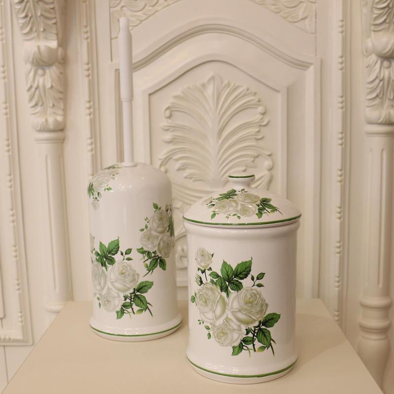 ロイヤルアーデン 白バラ陶器の トイレポット&トイレブラシ