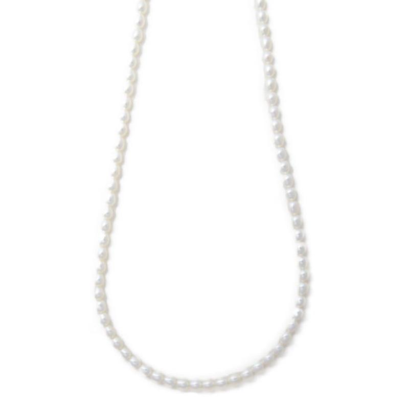 オーバルパールネックレス 60cm ホワイト