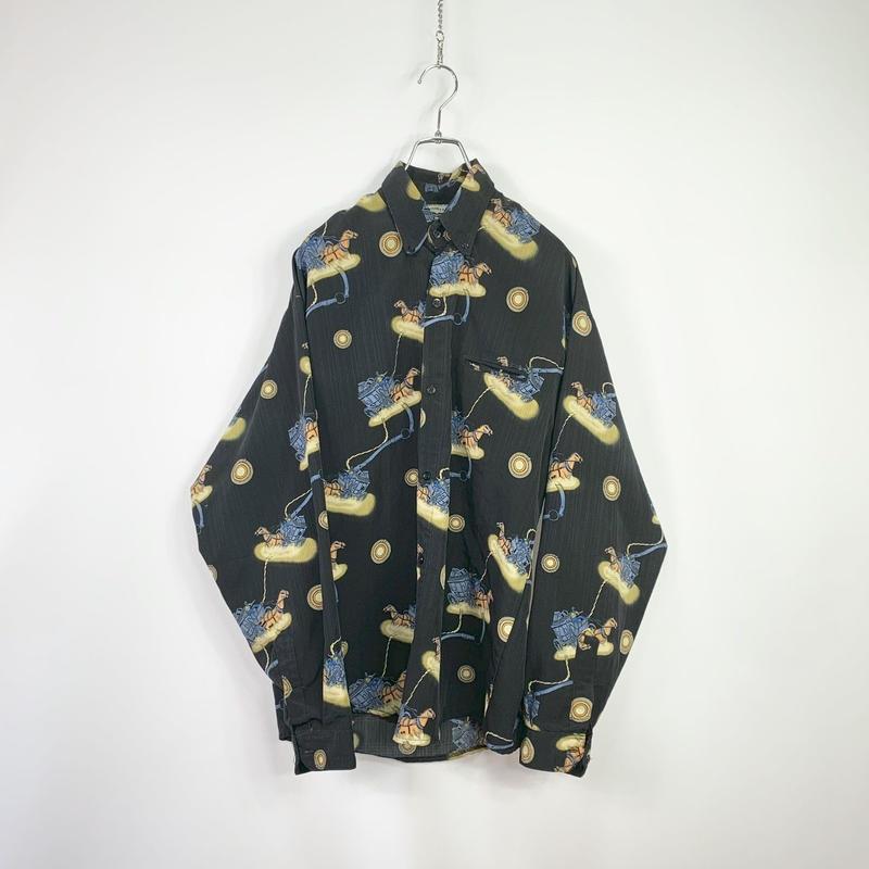 Multi design button-down shirt