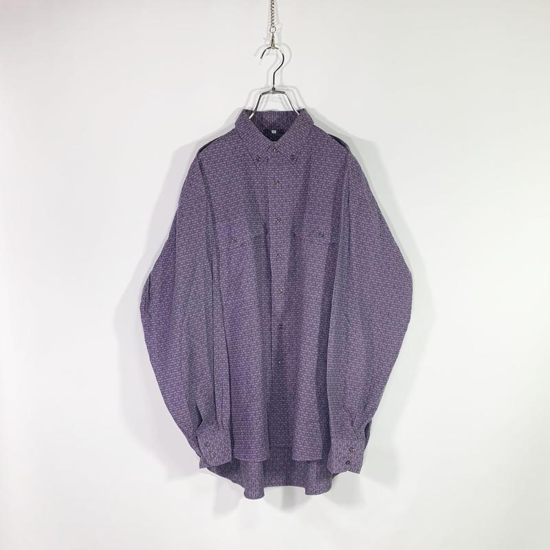 Purple mesh button-down shirt