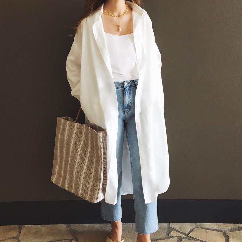 コットンロングシャツ【 White 】