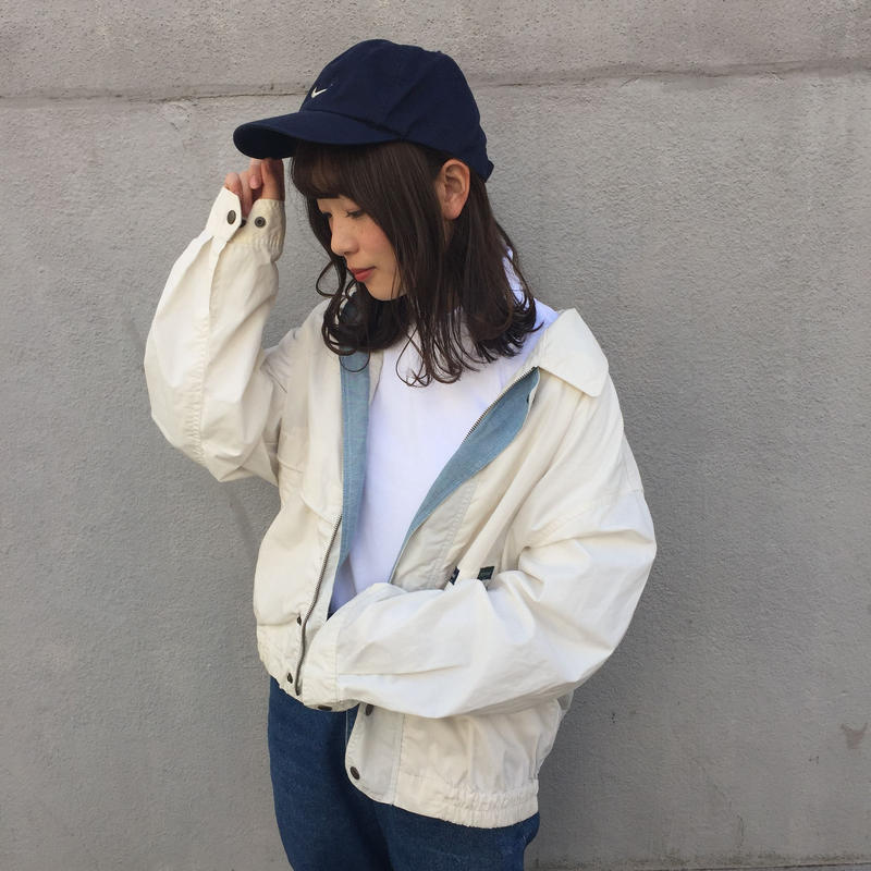 White pastel blue nylon jacket