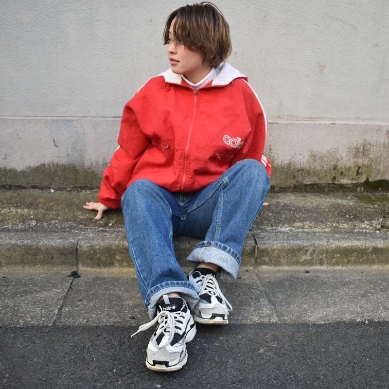 Adidas red simple logo nylon jacket