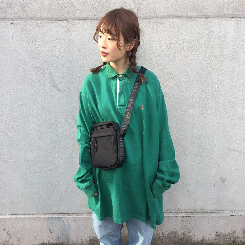 Polo green one point long polo shirts
