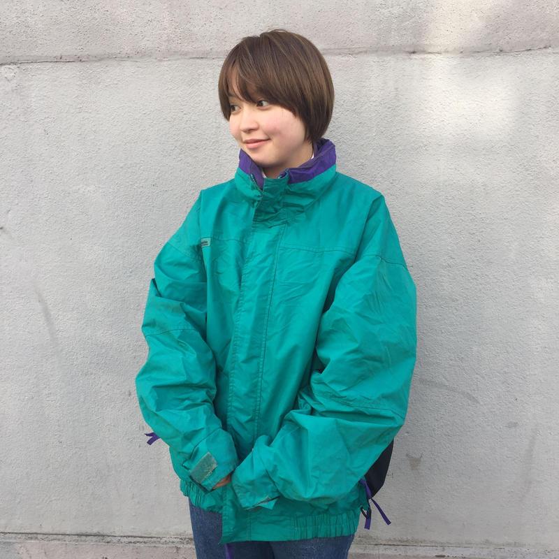 Columbia green purple nylon jacket