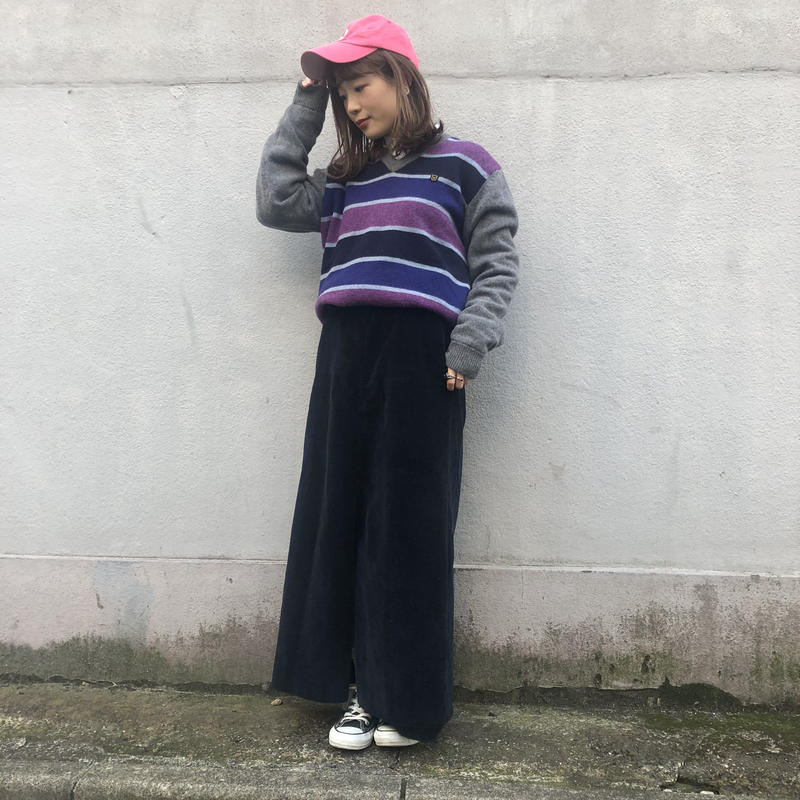 EDWIN GOLF purple border knit