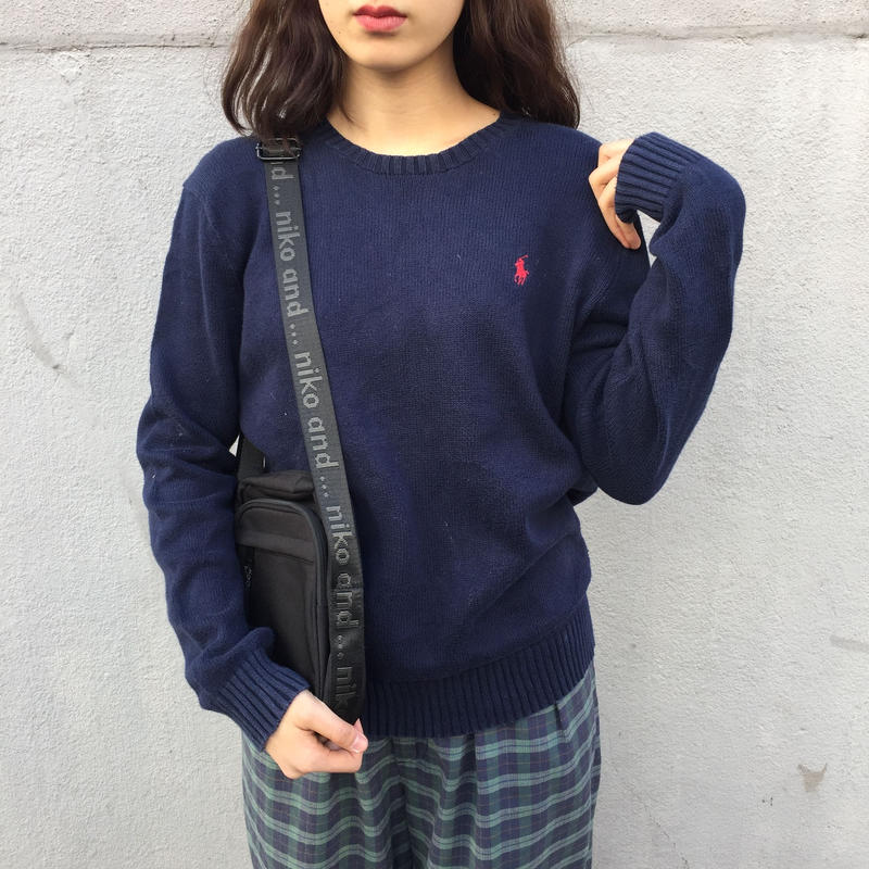 Polo navy one point knit