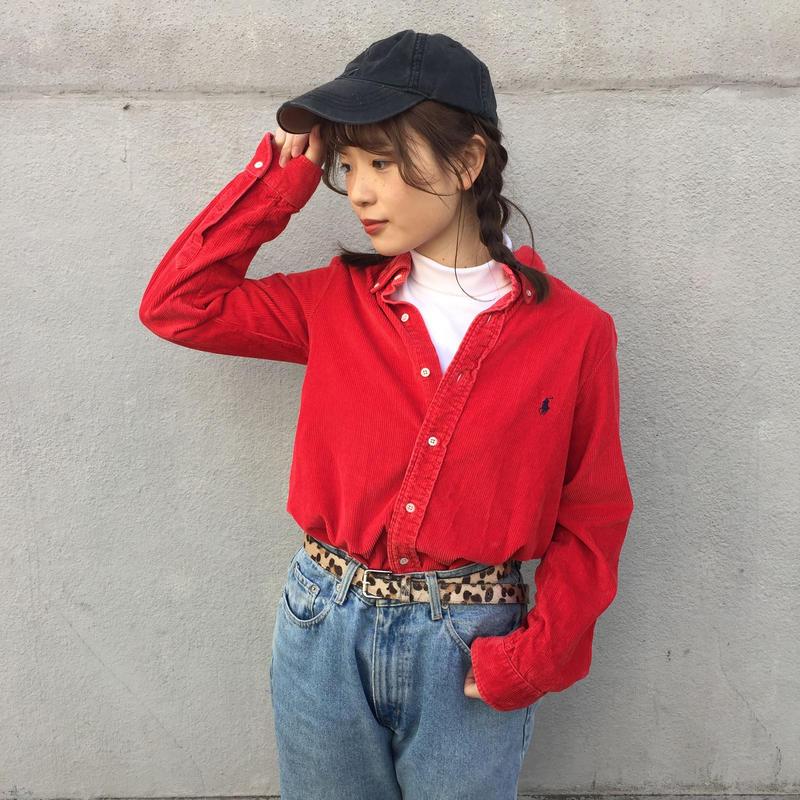 Polo red one point corduroy like shirts