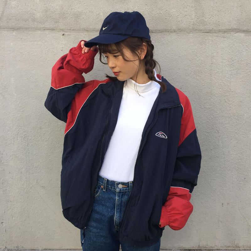 Fila navy red one point nylon jacket