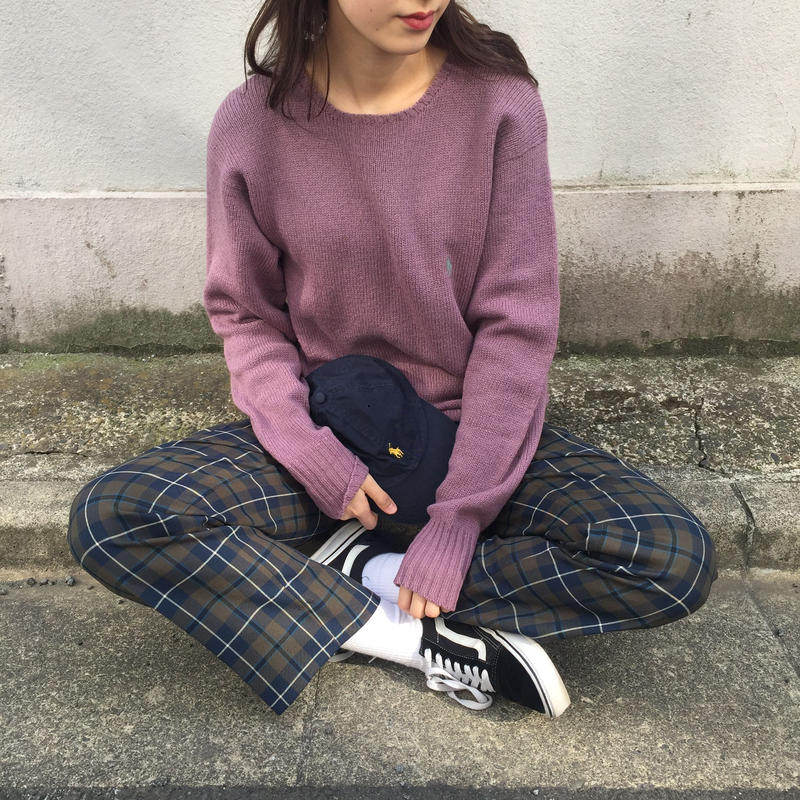 Polo purple one point knit
