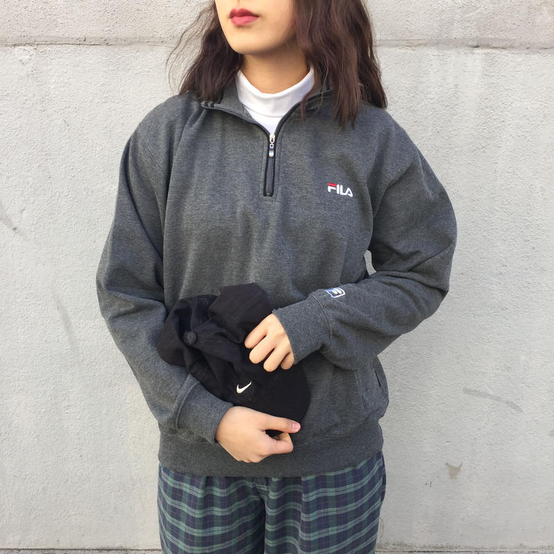 Fila gray back print half zip