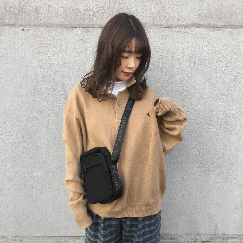 Polo beige one point knit