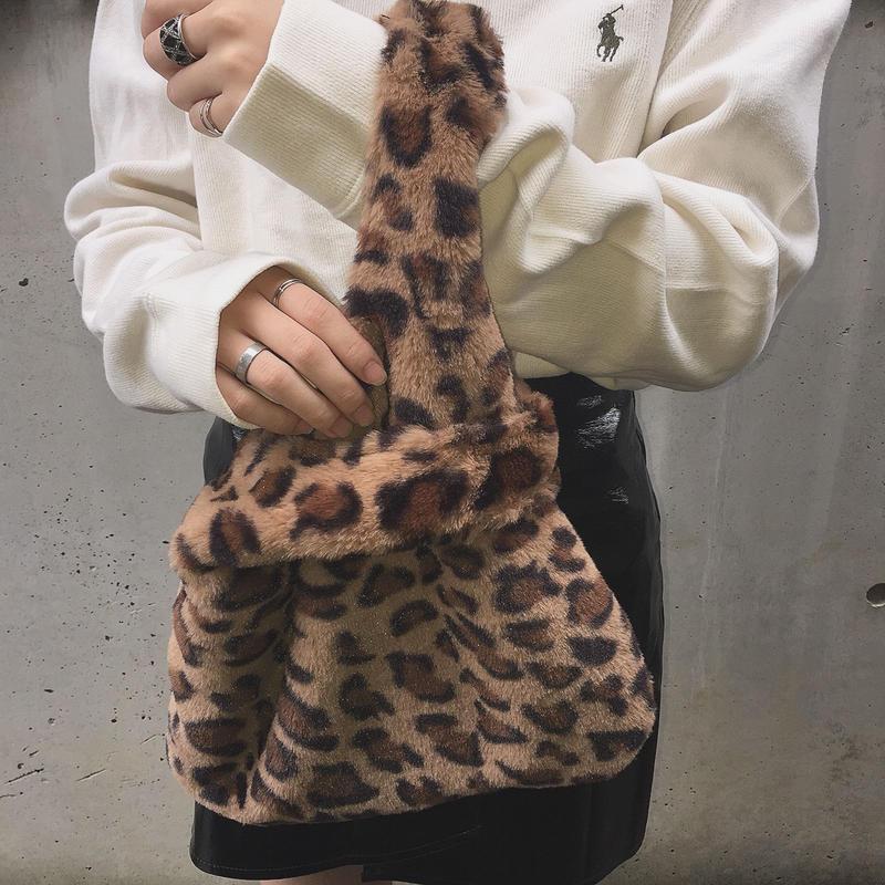 fake fur leopard bag(brown)