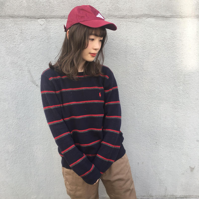 Polo navy border one point knit
