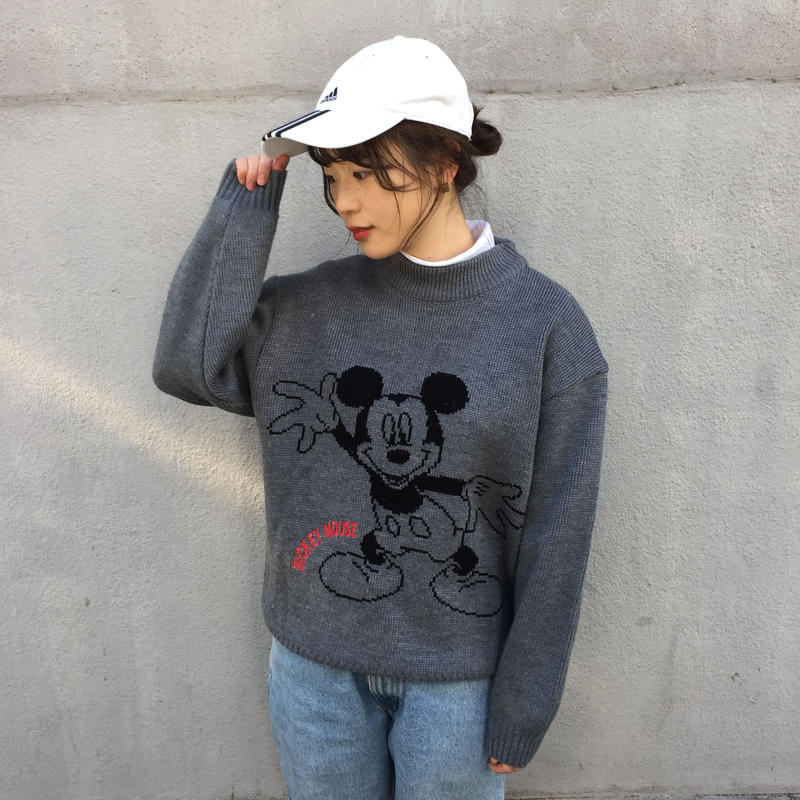 Mickey gray big print knit